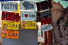 Souvenirs of Cuba, artificial car plates Stock Images
