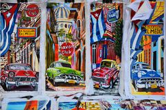 Souvenirs of Cuba at local market, chevrolets painting Royalty Free Stock Photo