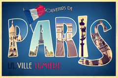 Souvenirs De PARIS, lumiere de ville de La, rétro style de carte postale, proces de collage de vintage Photographie stock libre de droits
