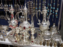 Souvenirs, folk decorated vessels made ??of metal, silver Stock Photos