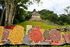 Souvenirs in front of a Mayan temple, Yucatan Stock Photography