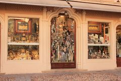 Typical handicraft shop in the medieval city of Toledo in Spain royalty free stock photos