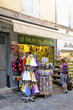 Souvenirs and gadgets in Aigues-Mortes street. Camargue in the south-east of France Royalty Free Stock Photography