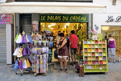 Souvenirs and gadgets in Aigues-Mortes street Royalty Free Stock Photos