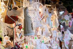 souvenirs of handmade work on Christmas market royalty free stock photos