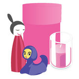 Souvenirs and home accessories, candle and pink box. Vector illustration Royalty Free Stock Images