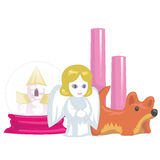 Souvenirs and home accessories, candle and pink box. Vector illustration Royalty Free Stock Photo