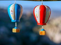 Souvenirs hot air balloons on the street market in Turkey, Cappadocia.  royalty free stock photo