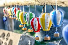 Souvenirs hot air balloons on the street market in Turkey, Cappadocia.  stock photography