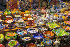 Souvenirs from Istanbul at Grand Bazar, Turkey. Souvenir plates painted with colorful flowers. Traditional arts and paintings, abstract and realistic paintings royalty free stock photo