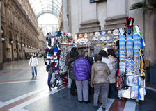 Souvenirs kiosk, Milan. MILAN - NOV 12: Souvenirs and gifts kiosk in Milan, Italy on November 12, 2010. According to the Ministry of foreign affairs, every year Stock Photos