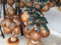 Souvenirs, lamps made from coconut. Market in Koh Samui, December 2013 Stock Photos