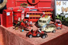 Souvenirs from London UK. Red bus and more stuff royalty free stock images