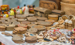 Souvenirs made of wood. Stock Photo