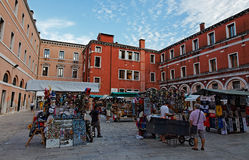 Souvenirs market. Venice, Italy- July 28th, 2011: A small market with souvenirs in a specific square in Venice Royalty Free Stock Photography