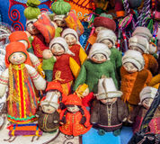 Souvenirs in market in Almaty, Kazakhstan. Traditional souvenirs with ornaments in street market in Almaty, Kazakhstan Royalty Free Stock Images