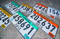 Souvenirs panama. PANAMA, PANAMA - APRIL 15, 2015: Licence plates Souvenirs for sale in the Paza Francia in Pamama city stock photos