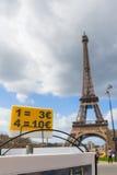 Souvenirs of Paris, Eiffel Tower euro price Royalty Free Stock Image