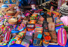 Souvenirs in Peruvian market Royalty Free Stock Photos