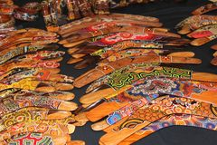 Collage of boomerangs at Queen Victoria Market, Melbourne,Australia Stock Images