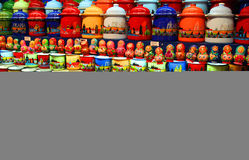Souvenirs for sale. Colourful cups and other souvenirs on sale in Prague, Czech Republic Royalty Free Stock Photography