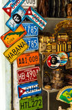 Souvenirs for sale in Havana. (including handmade fake car license plates stock photo
