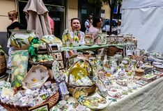 Souvenirs for sale in Sorrento, Italy. View of Souvenirs for sale in Sorrento, Italy Stock Photos