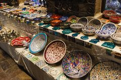 Souvenirs selling in streets of Antalya, Turkey royalty free stock image