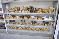 Athens, september 6th: Souvenirs Shop interior from Athens in Greece royalty free stock images