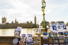 Souvenirs shop in London. Postcards, t-shirts, hats, refrigerator magnets and other souvenirs in London UK Stock Photography