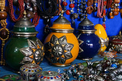 Souvenirs  in  a shop in the medina of Fes Stock Photos