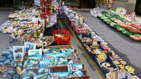 Souvenirs shop in Passignano on Lake Trasimeno stock images