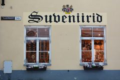 Souvenirs shop windows. Toompea. Tallinn. Estonia. Tallinn is the capital and largest city of Estonia; the Old Town is one of the best preserved medieval cities royalty free stock photos