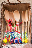 Souvenirs from Sicily. View of some wooden spoons and forks with ceramic decorations, souvenirs along the streets of Taormina royalty free stock image