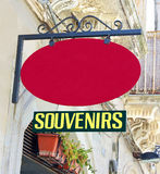 Souvenirs Sign. With a blank red sign above it Stock Image