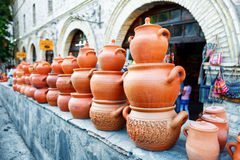 Souvenirs sold on a local market in the old town of Sheki, Azerbaijan. Stock Photography