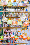 Souvenirs on the streets arranged in row and column Stock Image