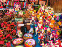 Souvenirs in Peruvian market Royalty Free Stock Photography