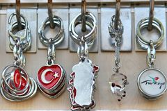 souvenirs from turkey, chains, keychains, jewelry, gifts Royalty Free Stock Photos
