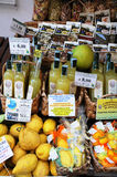Souvenirs. Typical souvenirs from Amalfi.  Lemon and limoncello. Limoncello is ani talian lemon liqueur mainly produced in Southern Italy Royalty Free Stock Images
