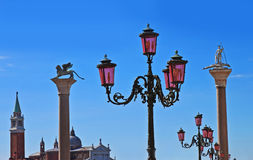 Souvenirs of Venice. Iconic symbols of Venice, Italy, seen from the Piazzetta San Marco stock images