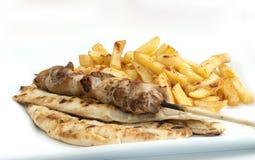 Souvlaki arrostito del pollo greco fotografia stock