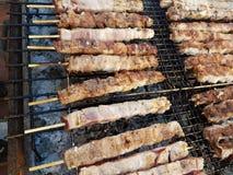 Souvlaki grek na grilla mięsa jedzeniu Fotografia Royalty Free