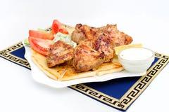 Souvlaki, Kebab, grillte Fleisch auf Pittabrot mit Stockfotos