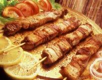 Souvlaki op een vleespen Stock Foto