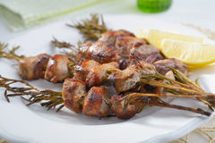 Souvlaki on rosemary sticks Stock Images