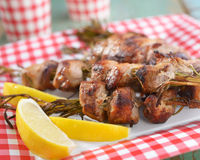 Souvlaki on rosemary sticks Stock Photo