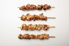 Souvlaki traditional greek meat food, isolated on white background, top view. Souvlaki, meat skewers, traditional greek food, isolated on white background, top royalty free stock photography