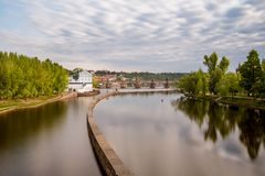 Sov`s mills on the Vltava River, in the background of Charles Br stock photos