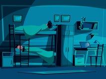 Sov- vektorillustration för högskolestudent royaltyfri illustrationer